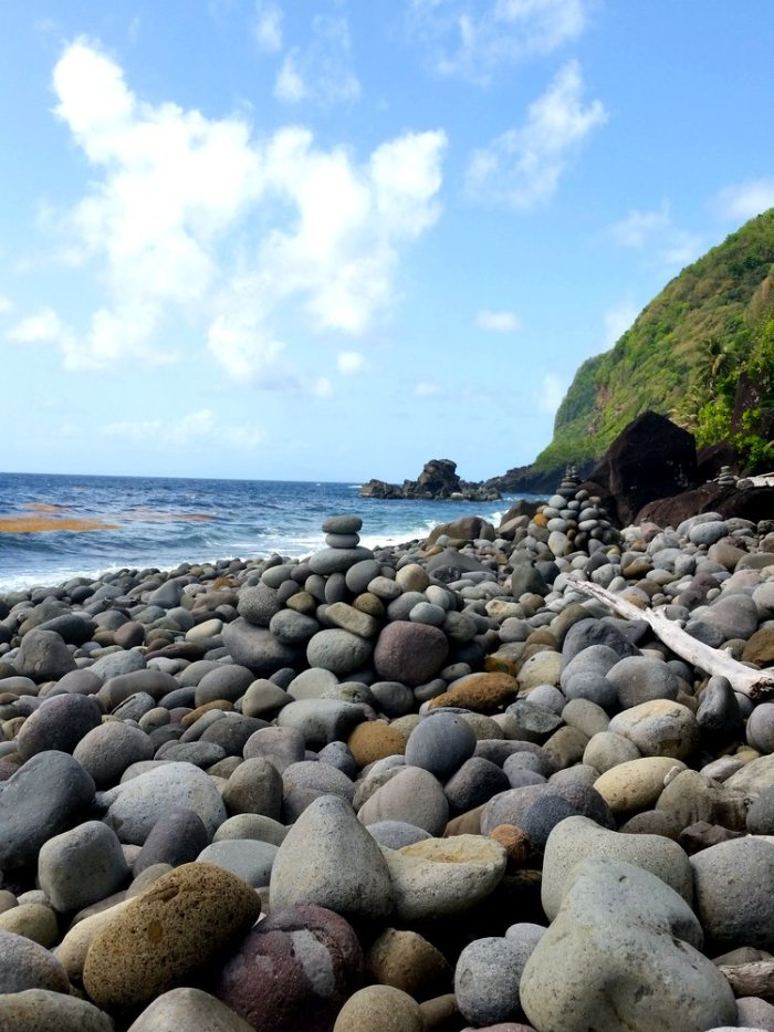 rock beach, dominica, atlantic side